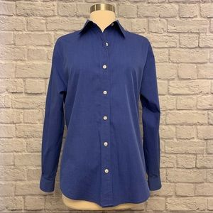 Talbots Button Front Long Sleeve Cotton Blouse